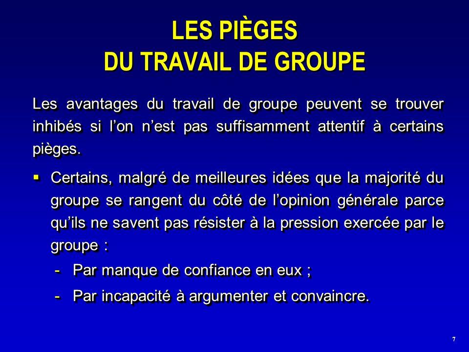 7 LES PIÈGES DU TRAVAIL DE GROUPE -Par manque de confiance en eux ; -Par incapacité à argumenter et convaincre.