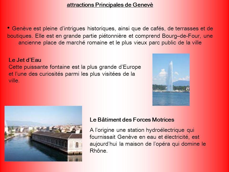 attractions Principales de Genevè Genève est pleine dintrigues historiques, ainsi que de cafés, de terrasses et de boutiques. Elle est en grande parti