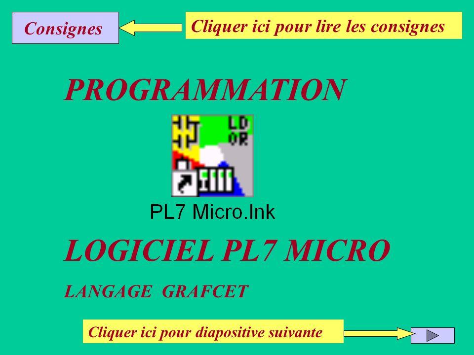 PROGRAMMATION LOGICIEL PL7 MICRO LANGAGE GRAFCET Cliquer ici pour diapositive suivante Cliquer ici pour lire les consignes Consignes