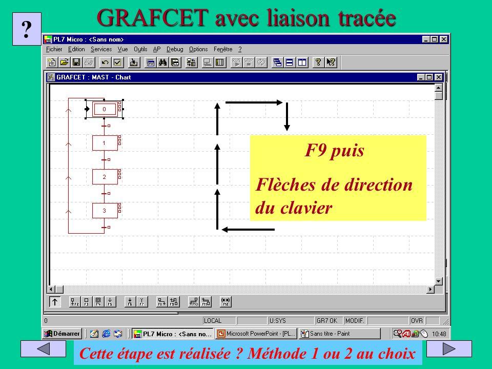 GRAFCET avec liaison tracée Placer le curseur sur la dernière transition Appuyer sur la touche F9 Tracer la liaison par les flèches de direction ? Cet