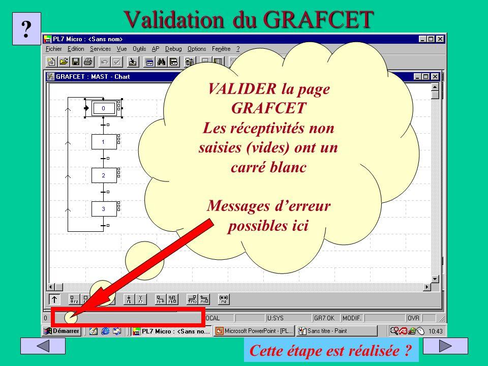 Validation du GRAFCET VALIDER la page GRAFCET Les réceptivités non saisies (vides) ont un carré blanc Messages derreur possibles ici ? Cette étape est