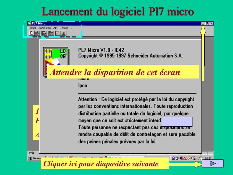 Lancement du logiciel Pl7 micro 1 : Cliquer ici pour lancer PL7 micro Attendre le chargement 2 :Cliquer ici pour revenir au diaporama après chargement