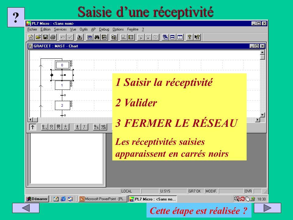 Saisie dune réceptivité Saisir et valider la réceptivité Valider le réseau Fermer le réseau Finir le réseau Appuyer sur F10 ? 1 Saisir la réceptivité