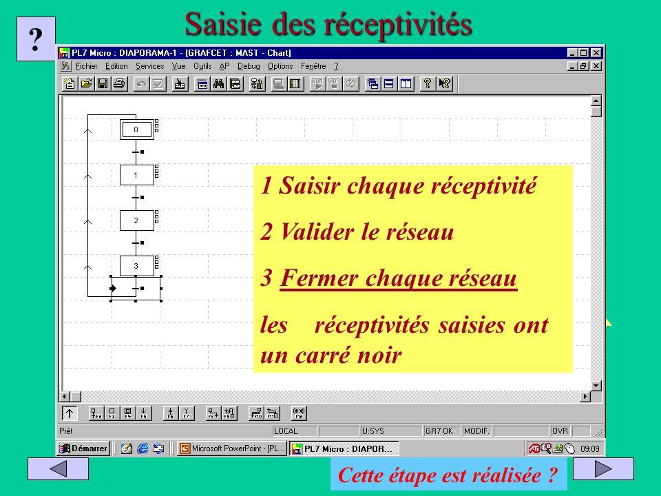Saisir et valider chacune des réceptivités Saisie des réceptivités ? 1 Saisir chaque réceptivité 2 Valider le réseau 3 Fermer chaque réseau les récept