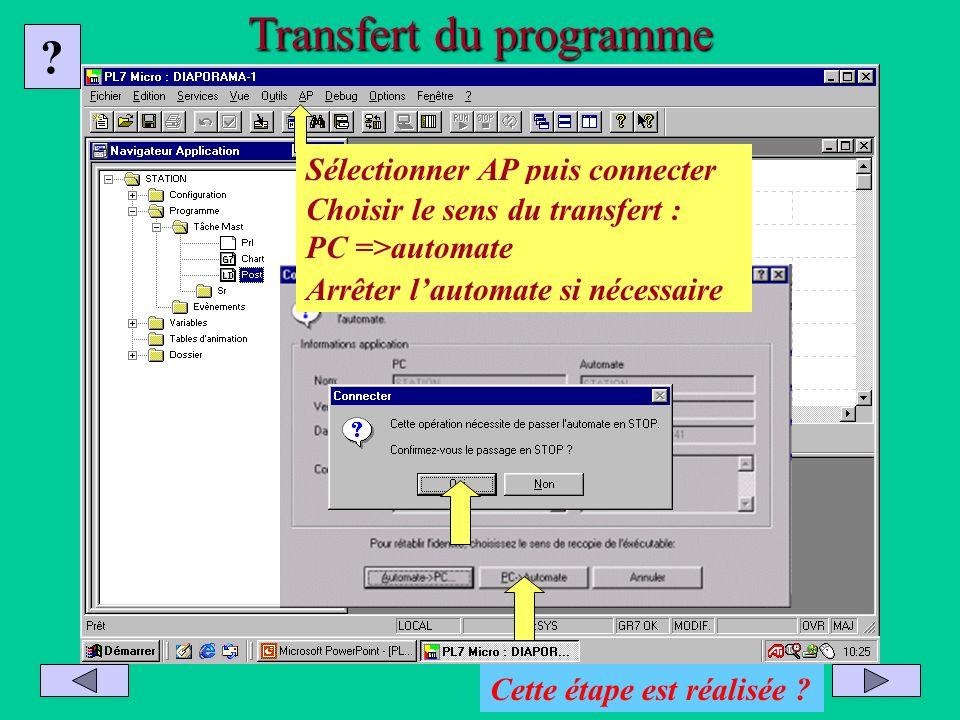 Transfert du programme Sélectionner AP puis connecter Choisir le sens du transfert : PC =>automate Arrêter lautomate si nécessaire ? Cette étape est r