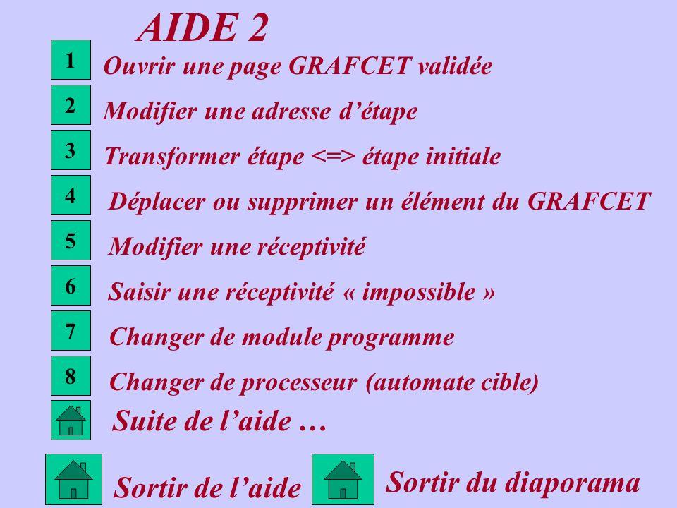 AIDE 2 Sortir de laide 1 2 3 4 5 6 Ouvrir une page GRAFCET validée Modifier une adresse détape Transformer étape étape initiale Déplacer ou supprimer
