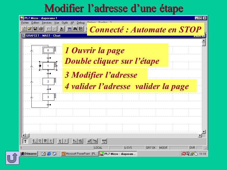 Modifier ladresse dune étape 2 Confirmer, si ce message apparaît 1 Ouvrir la page Double cliquer sur létape 3 Modifier ladresse 4 valider ladresse val