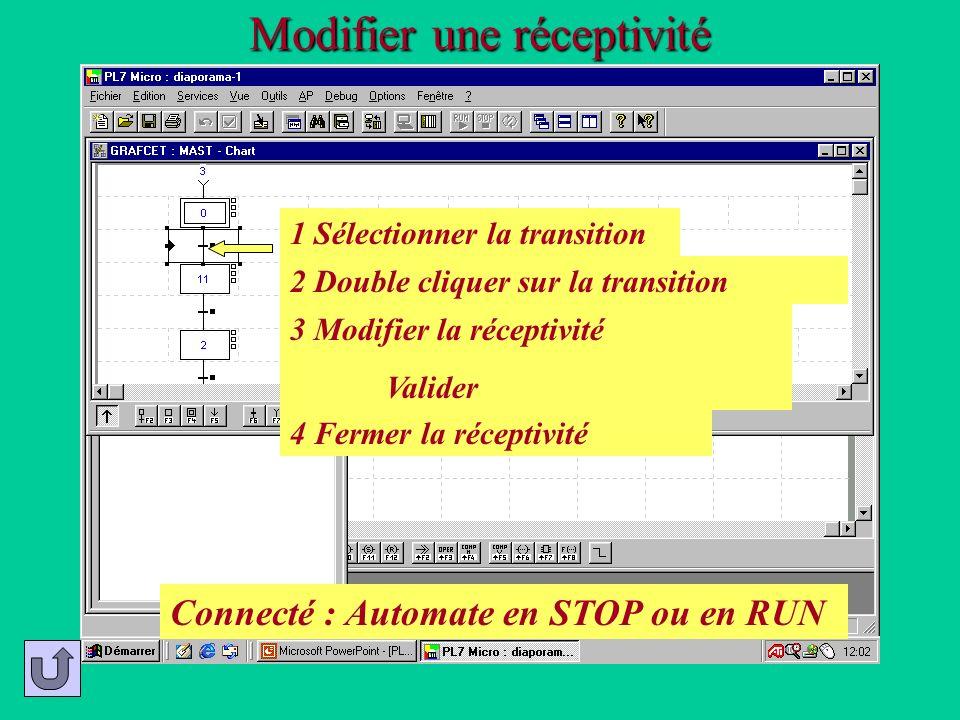 Modifier une réceptivité 2 Double cliquer sur la transition 1 Sélectionner la transition 3 Modifier la réceptivité Valider 4 Fermer la réceptivité Con