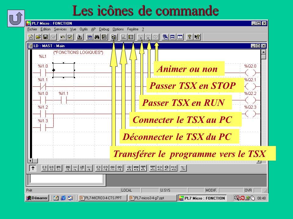 Les icônes de commande Transférer le programme vers le TSX Déconnecter le TSX du PC Connecter le TSX au PC Passer TSX en RUN Passer TSX en STOP Animer