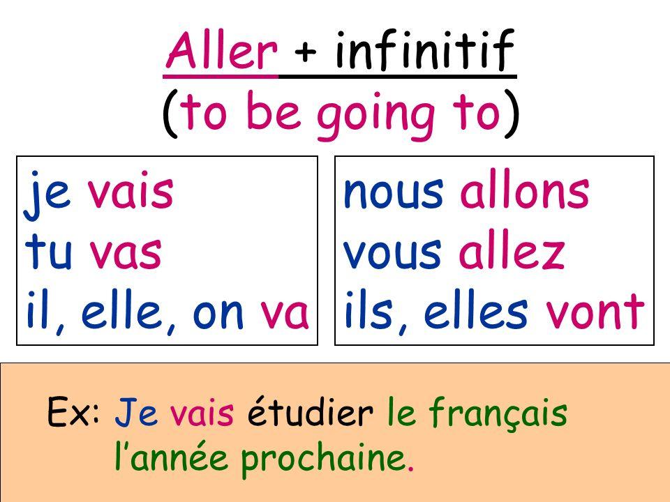 je vais tu vas il, elle, on va nous allons vous allez ils, elles vont Aller + infinitif (to be going to) Ex: Je vais étudier le français lannée procha
