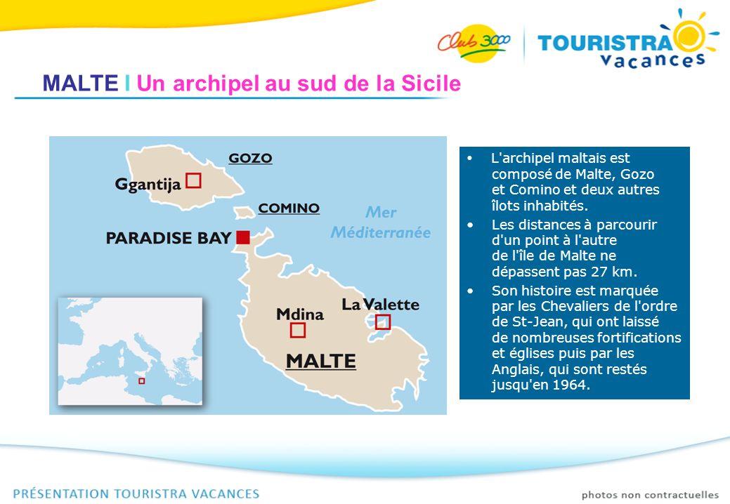 MALTE I Un archipel au sud de la Sicile L'archipel maltais est composé de Malte, Gozo et Comino et deux autres îlots inhabités. Les distances à parcou