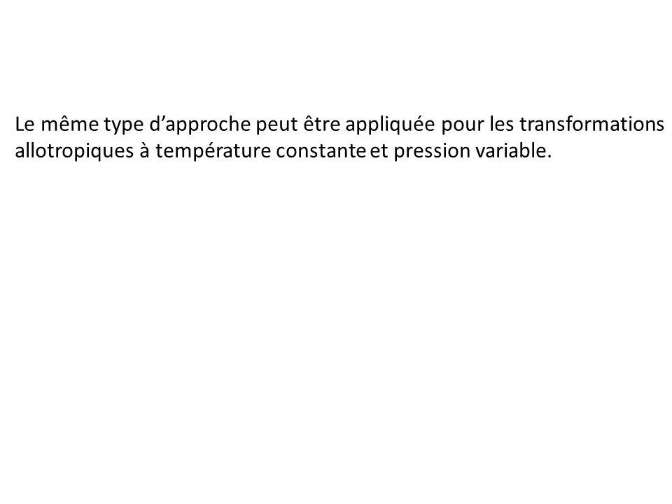 Le même type dapproche peut être appliquée pour les transformations allotropiques à température constante et pression variable.