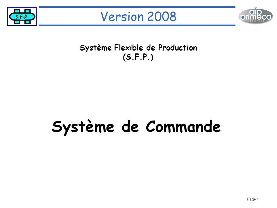 Page 1 Version 2008 Système Flexible de Production (S.F.P.) Système de Commande