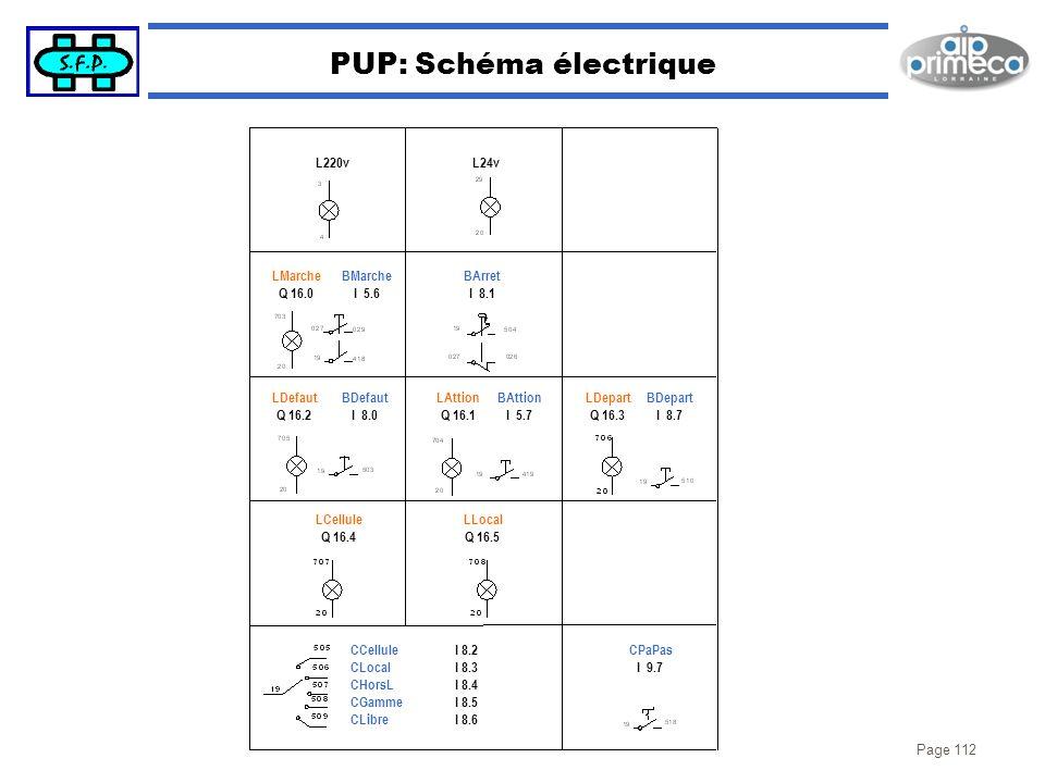 Page 112 PUP: Schéma électrique BDepart I 8.7 LDepart Q 16.3 BAttion I 5.7 LAttion Q 16.1 BDefaut I 8.0 LDefaut Q 16.2 BMarche I 5.6 LMarche Q 16.0 BA