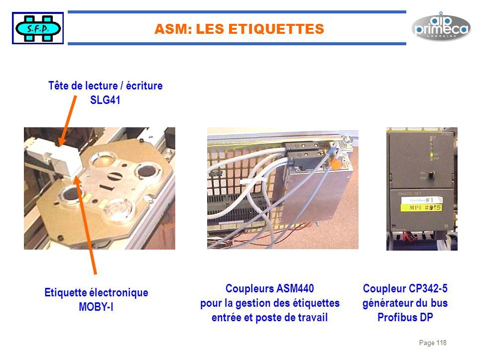 Page 118 ASM: LES ETIQUETTES Tête de lecture / écriture SLG41 Etiquette électronique MOBY-I Coupleurs ASM440 pour la gestion des étiquettes entrée et