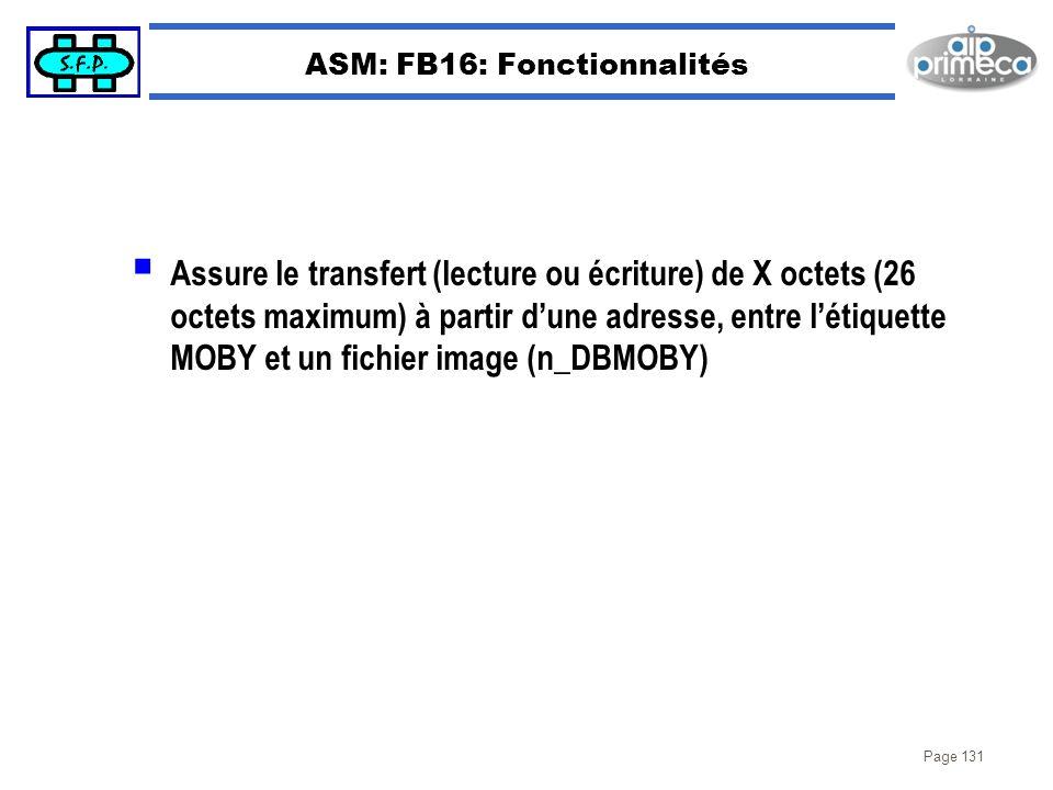 Page 131 ASM: FB16: Fonctionnalités Assure le transfert (lecture ou écriture) de X octets (26 octets maximum) à partir dune adresse, entre létiquette