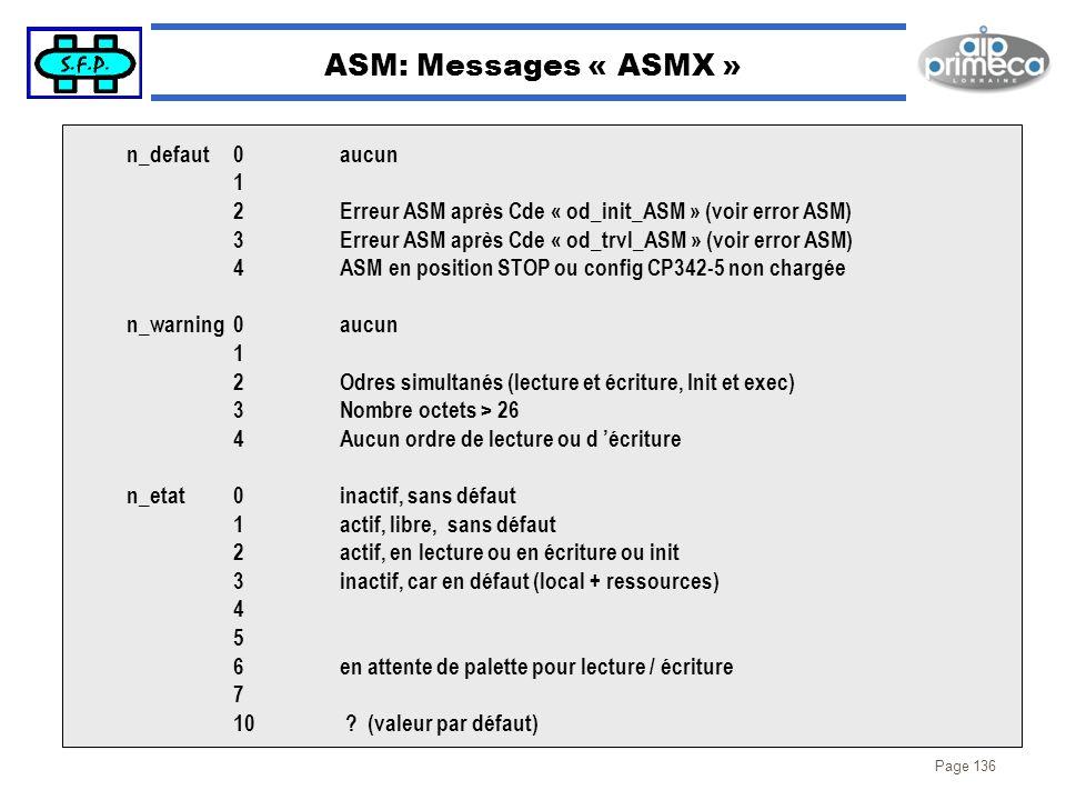 Page 136 ASM: Messages « ASMX » n_defaut0aucun 1 2Erreur ASM après Cde « od_init_ASM » (voir error ASM) 3Erreur ASM après Cde « od_trvl_ASM » (voir er