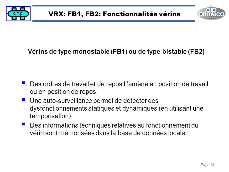 Page 140 VRX: FB1, FB2: Fonctionnalités vérins Des ordres de travail et de repos l amène en position de travail ou en position de repos, Une auto-surv