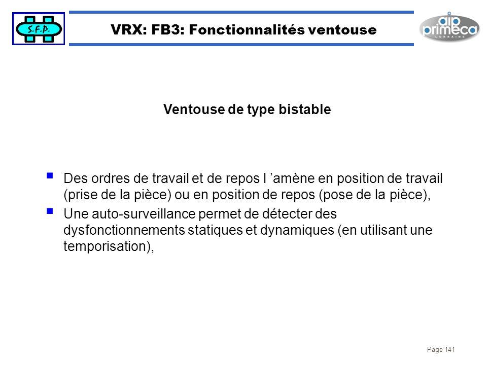 Page 141 VRX: FB3: Fonctionnalités ventouse Des ordres de travail et de repos l amène en position de travail (prise de la pièce) ou en position de rep