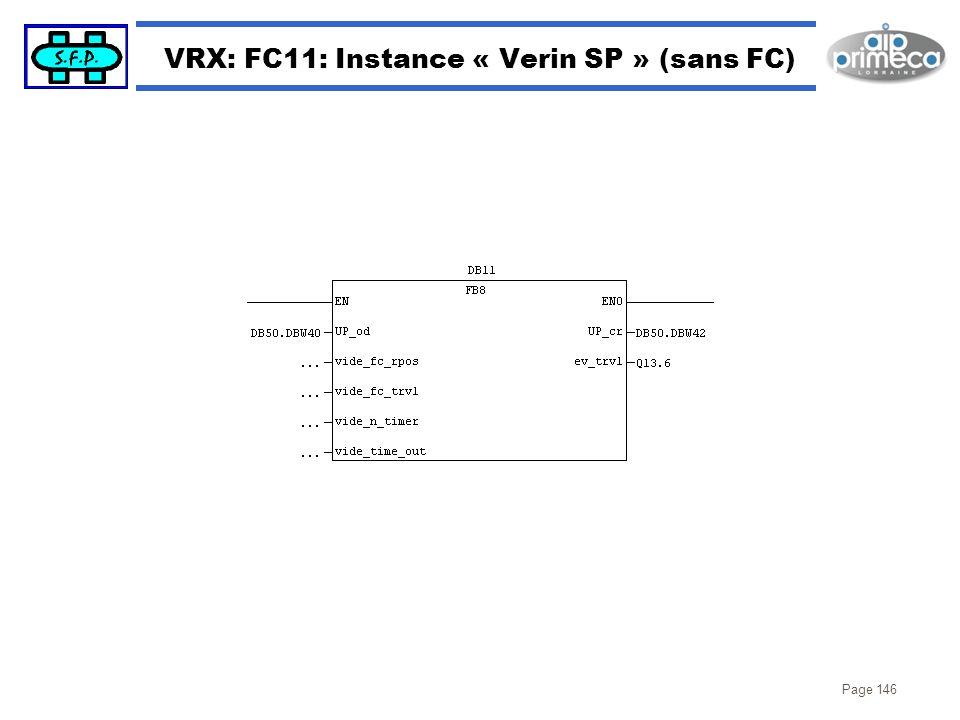 Page 146 VRX: FC11: Instance « Verin SP » (sans FC)