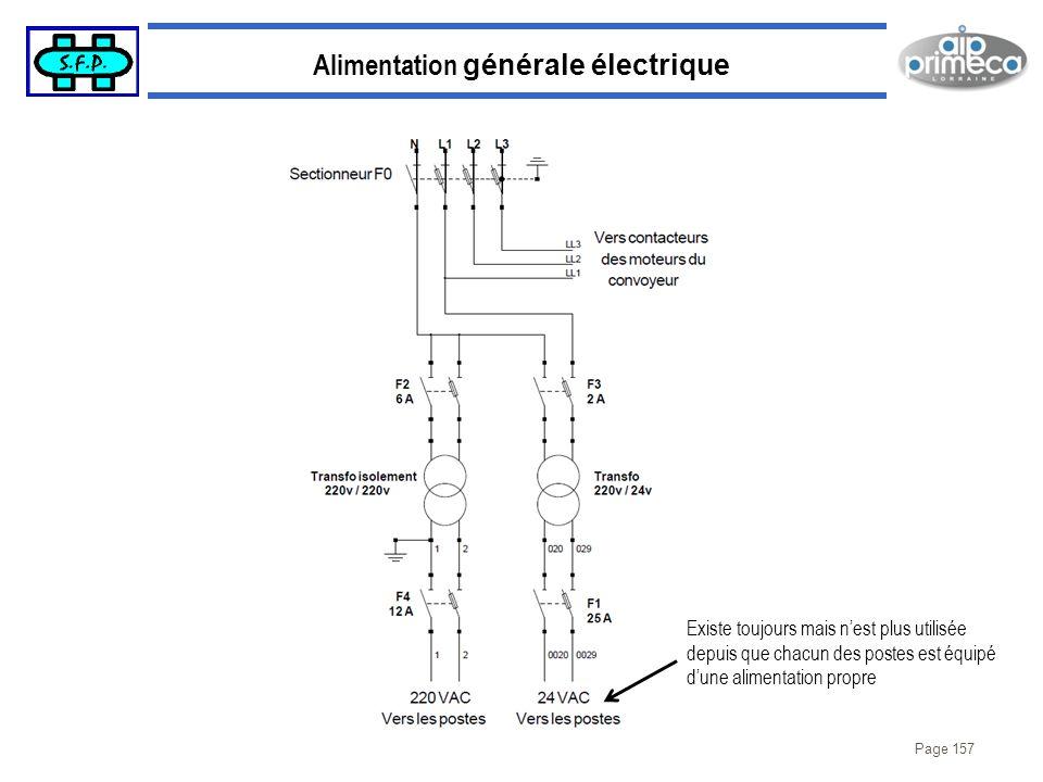 Page 157 Alimentation générale électrique Existe toujours mais nest plus utilisée depuis que chacun des postes est équipé dune alimentation propre