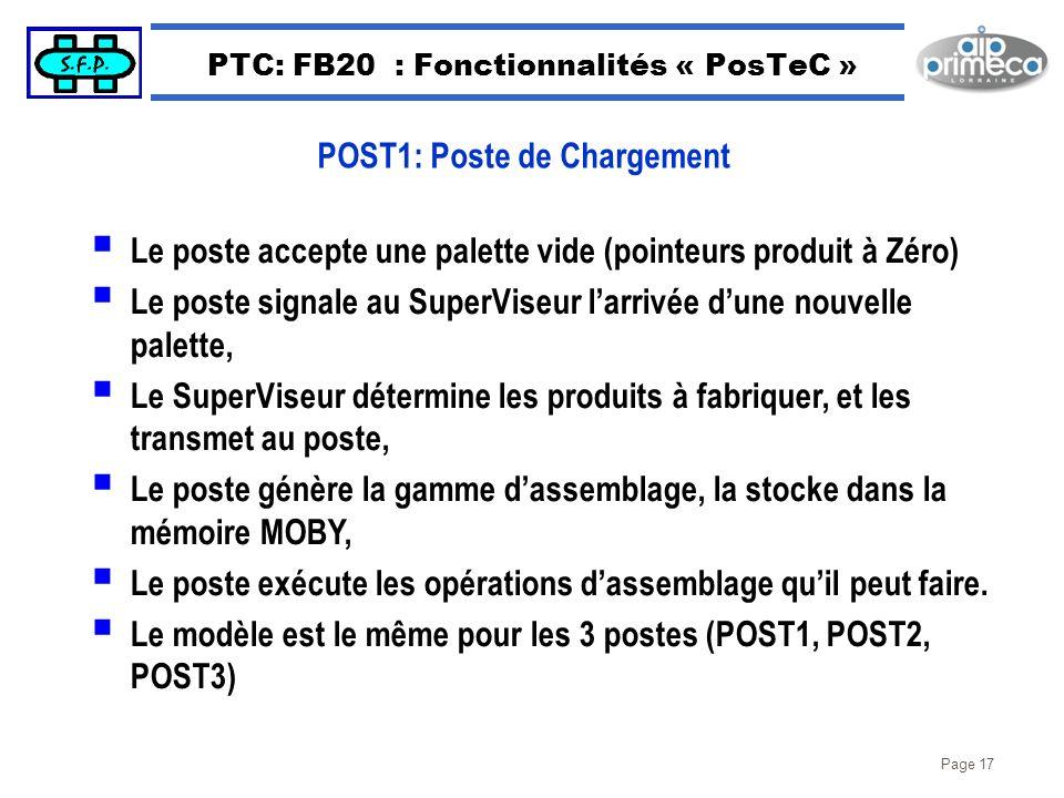 Page 17 PTC: FB20 : Fonctionnalités « PosTeC » Le poste accepte une palette vide (pointeurs produit à Zéro) Le poste signale au SuperViseur larrivée d
