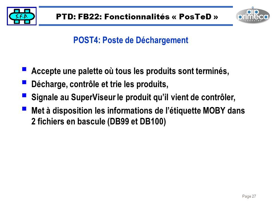 Page 27 PTD: FB22: Fonctionnalités « PosTeD » Accepte une palette où tous les produits sont terminés, Décharge, contrôle et trie les produits, Signale