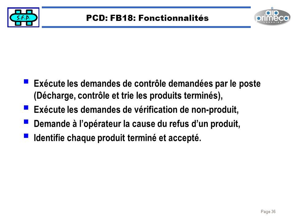 Page 36 PCD: FB18: Fonctionnalités Exécute les demandes de contrôle demandées par le poste (Décharge, contrôle et trie les produits terminés), Exécute