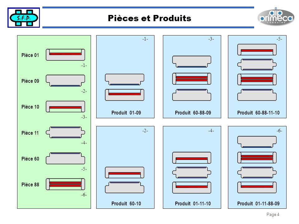Page 4 Pièces et Produits Produit 01-09Produit 60-10Produit 60-88-09Produit 01-11-10Produit 01-11-88-09 Pièce 09Pièce 01Pièce 88 -1- -2--4--6- -3- Pro