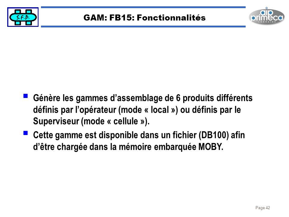 Page 42 GAM: FB15: Fonctionnalités Génère les gammes dassemblage de 6 produits différents définis par lopérateur (mode « local ») ou définis par le Su
