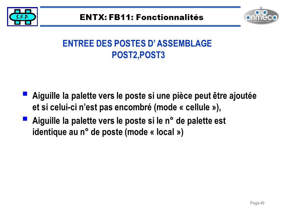 Page 49 ENTX: FB11: Fonctionnalités Aiguille la palette vers le poste si une pièce peut être ajoutée et si celui-ci nest pas encombré (mode « cellule