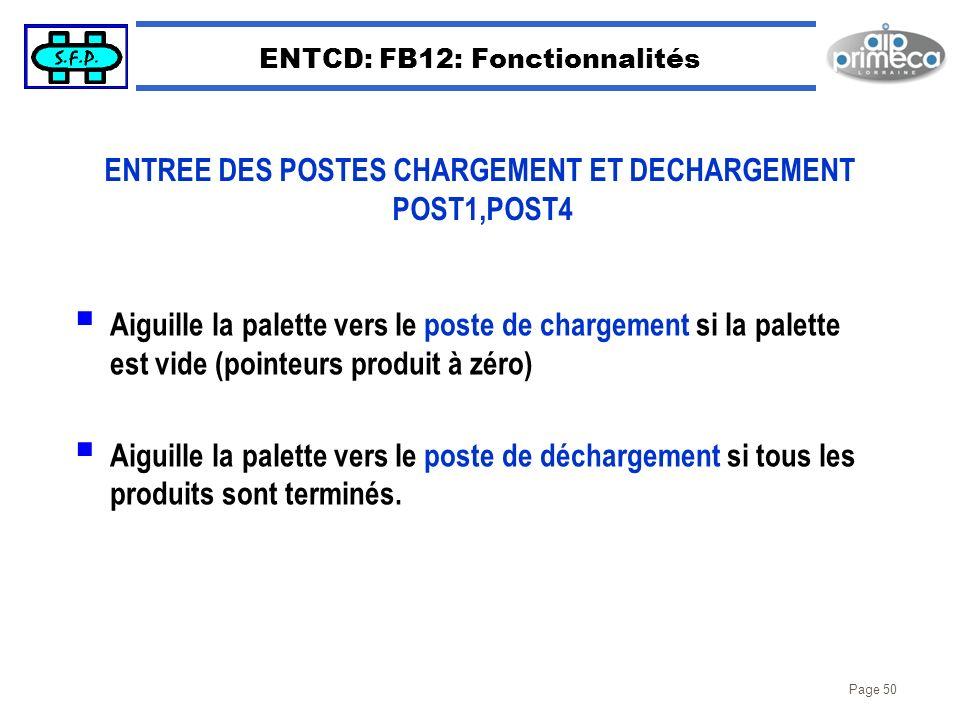 Page 50 ENTCD: FB12: Fonctionnalités Aiguille la palette vers le poste de chargement si la palette est vide (pointeurs produit à zéro) Aiguille la pal
