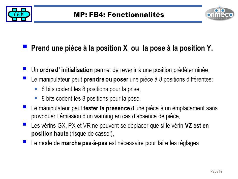 Page 69 MP: FB4: Fonctionnalités Prend une pièce à la position X ou la pose à la position Y. Un ordre d initialisation permet de revenir à une positio