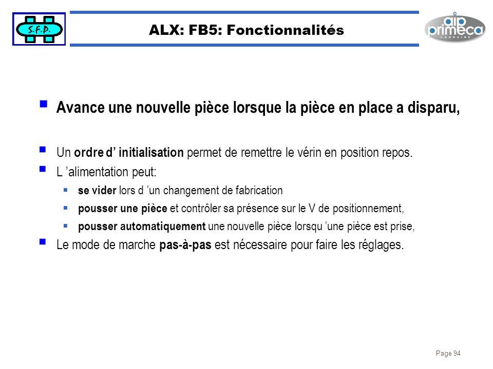 Page 94 ALX: FB5: Fonctionnalités Avance une nouvelle pièce lorsque la pièce en place a disparu, Un ordre d initialisation permet de remettre le vérin