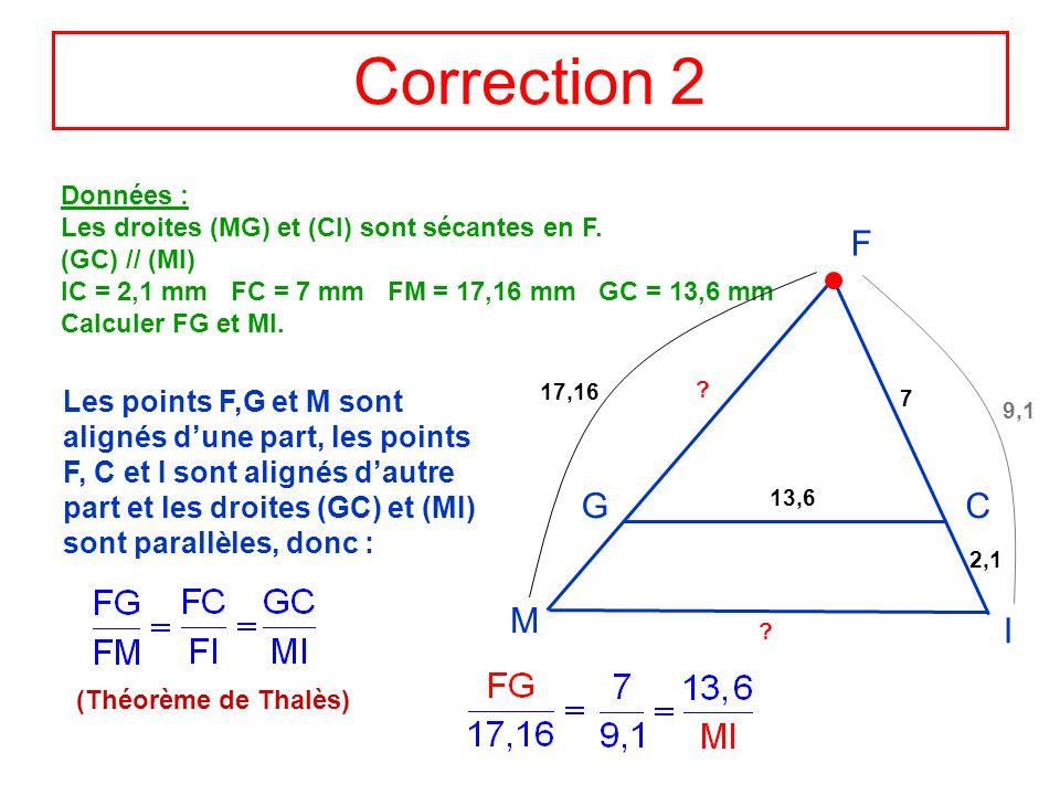 Correction 2 Données : Les droites (MG) et (CI) sont sécantes en F. (GC) // (MI) IC = 2,1 mm FC = 7 mm FM = 17,16 mm GC = 13,6 mm Calculer FG et MI. F