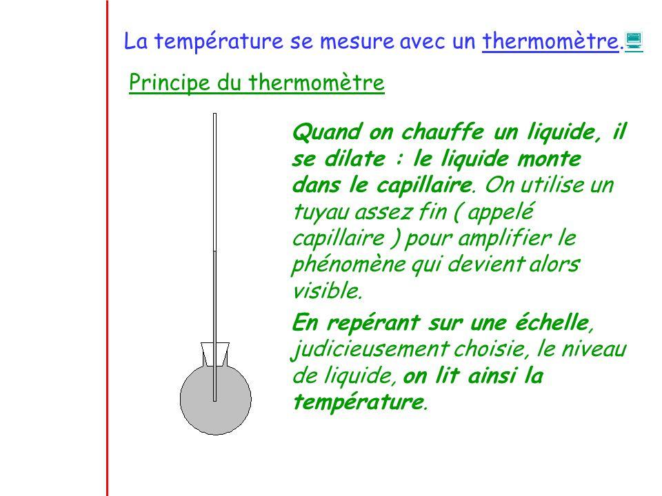 La température se mesure avec un thermomètre. Principe du thermomètre Quand on chauffe un liquide, il se dilate : le liquide monte dans le capillaire.