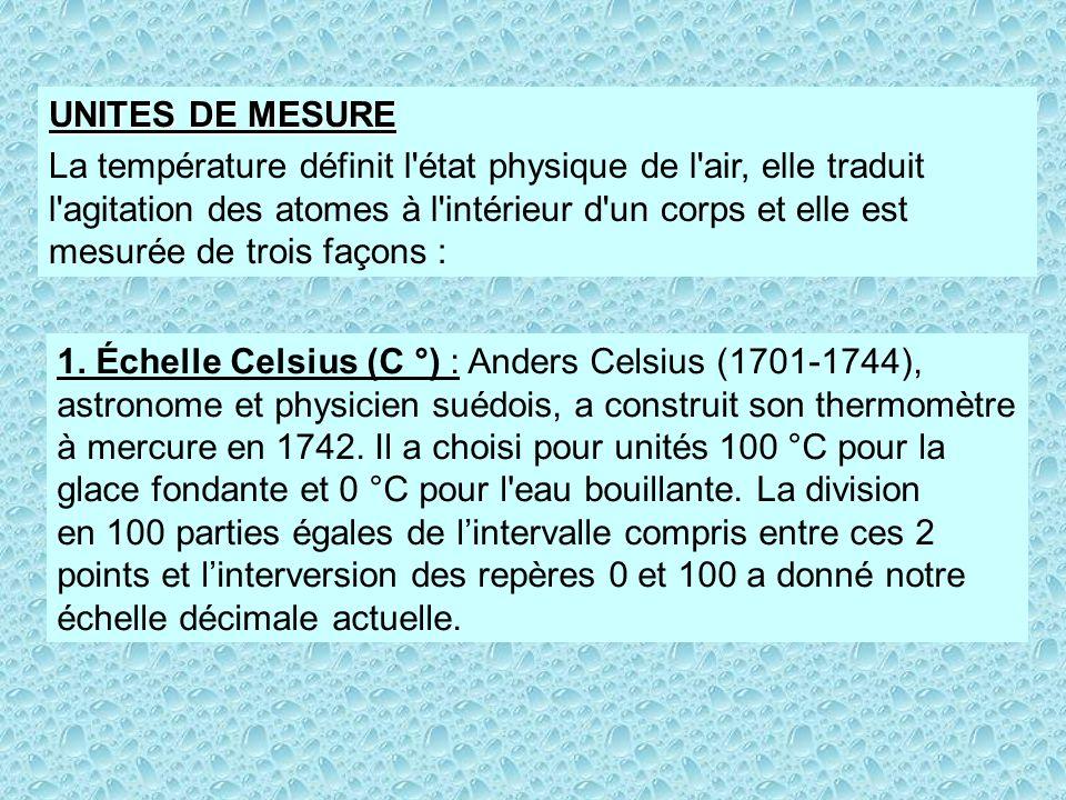 1. Échelle Celsius (C °) : Anders Celsius (1701-1744), astronome et physicien suédois, a construit son thermomètre à mercure en 1742. Il a choisi pour