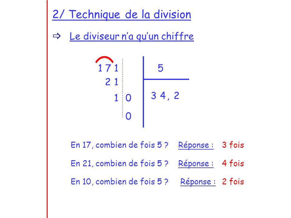2/ Technique de la division Le diviseur na quun chiffre 1 7 15 En 17, combien de fois 5 .