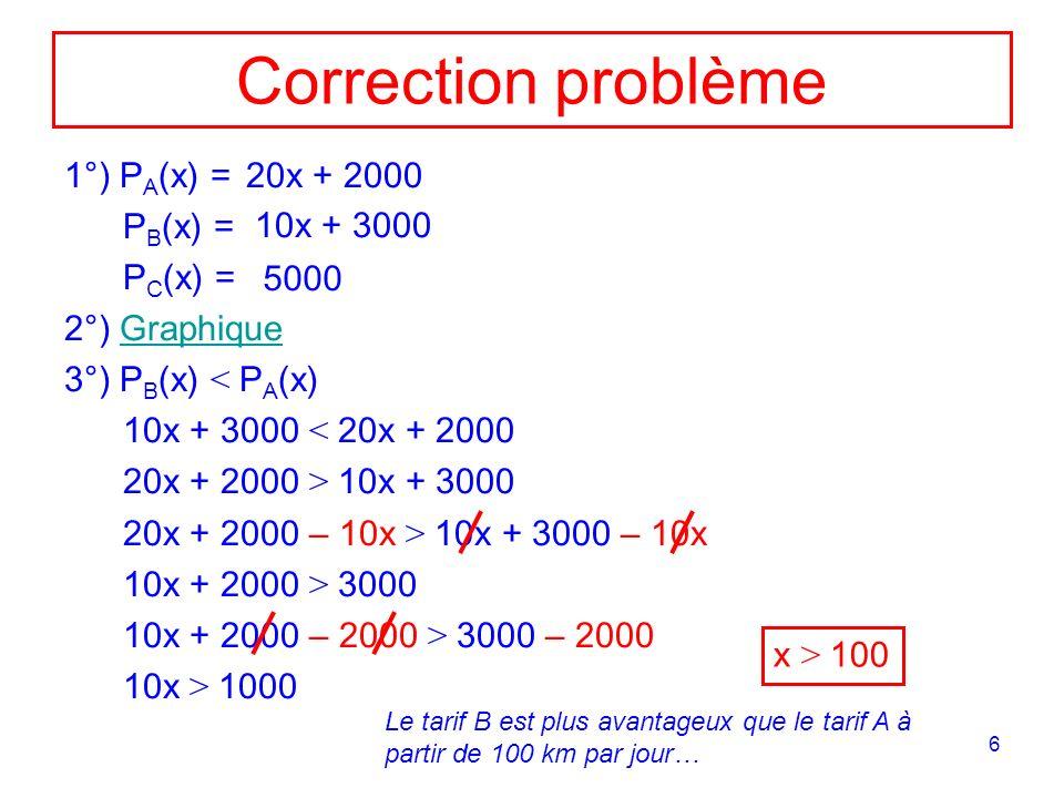 7 x P(x) 100 200 1000 2000 3000 4000 5000 6000 7000 50 P A ( x ) = 2 0 x + 2 0 0 0 P B ( x ) = 1 0 x + 3 0 0 0 P C (x) = 5000 150 P A < P B < P C P B < P A < P C P B < P C < P A P C < P B < P A