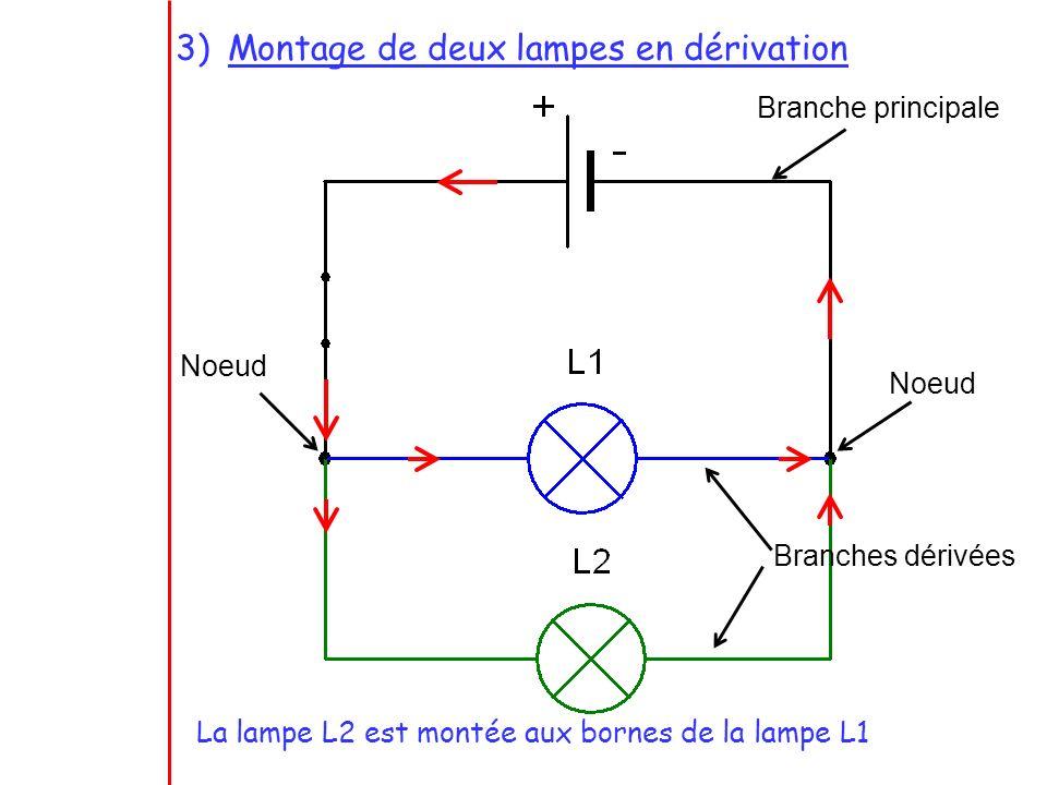 Branche principale Noeud Branches dérivées La lampe L2 est montée aux bornes de la lampe L1