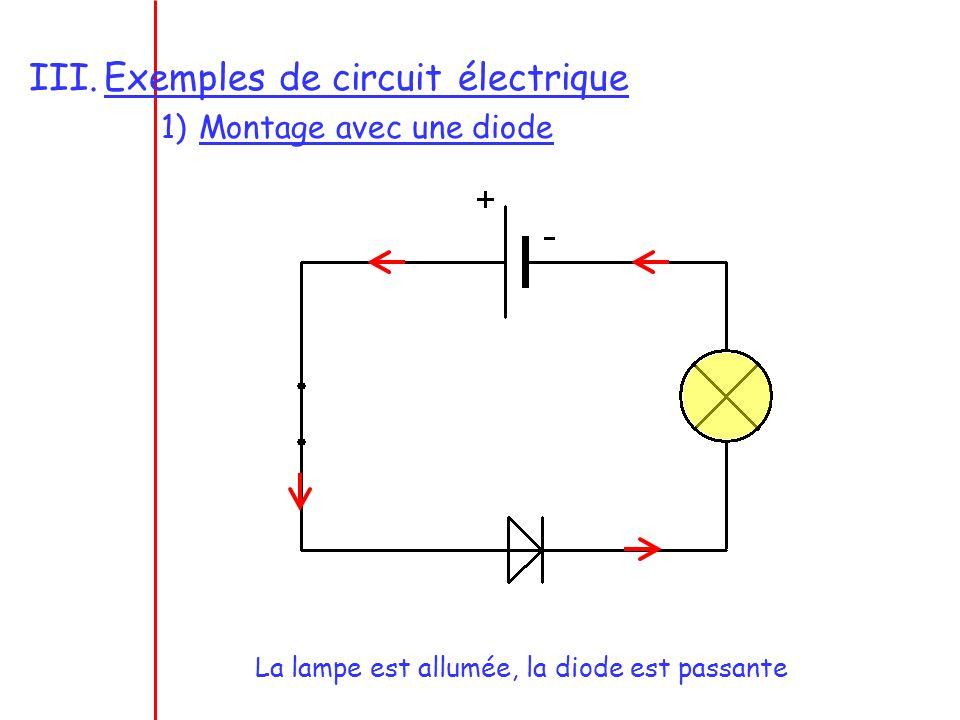 La lampe est éteinte, la diode est montée en inverse