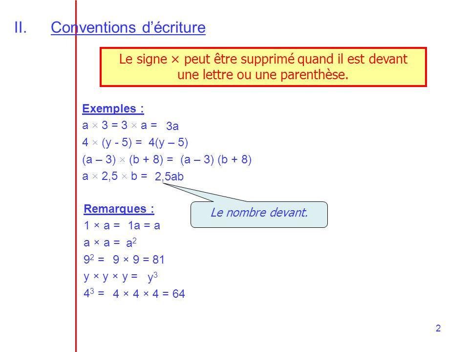 2 II.Conventions décriture Le signe × peut être supprimé quand il est devant une lettre ou une parenthèse. Exemples : a × 3 = 3 × a = 4 × (y - 5) = (a