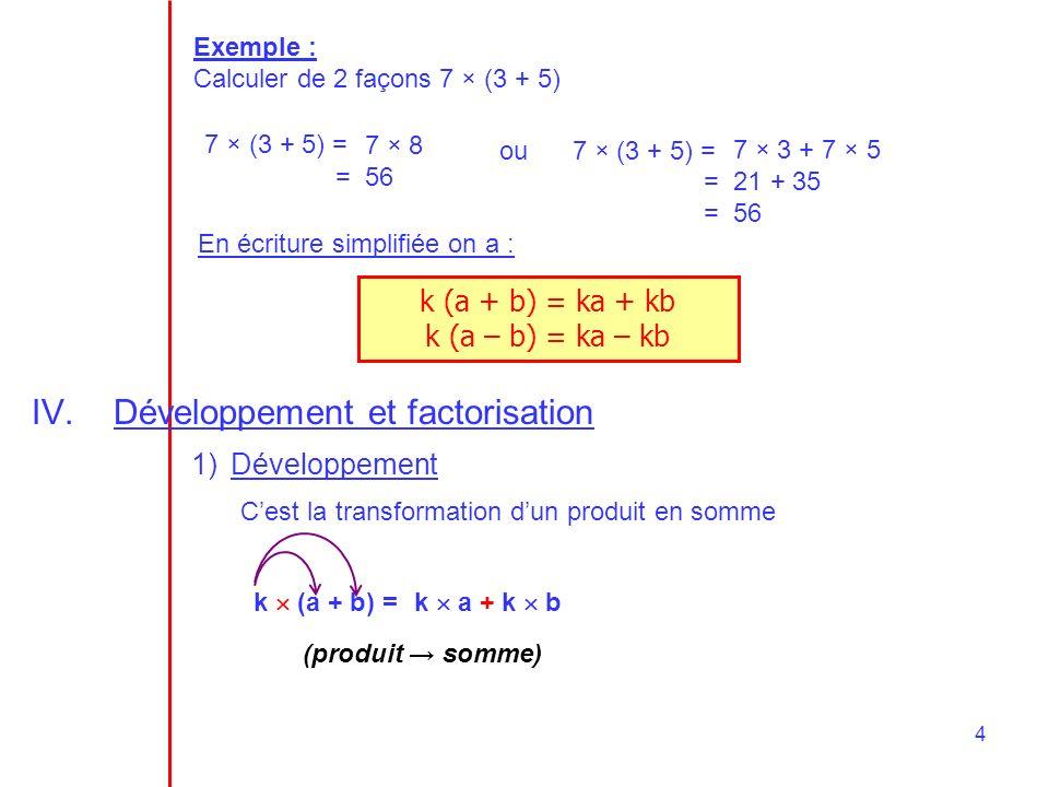 4 Exemple : Calculer de 2 façons 7 × (3 + 5) 7 × (3 + 5) = 7 × 8 = 56 ou 7 × (3 + 5) = 7 × 3 + 7 × 5 = 21 + 35 = 56 En écriture simplifiée on a : k (a