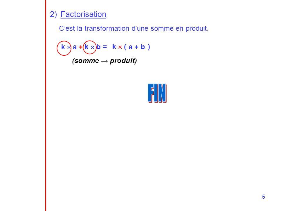 5 2)Factorisation Cest la transformation dune somme en produit. k a + k b = k ( ) a + b (somme produit)