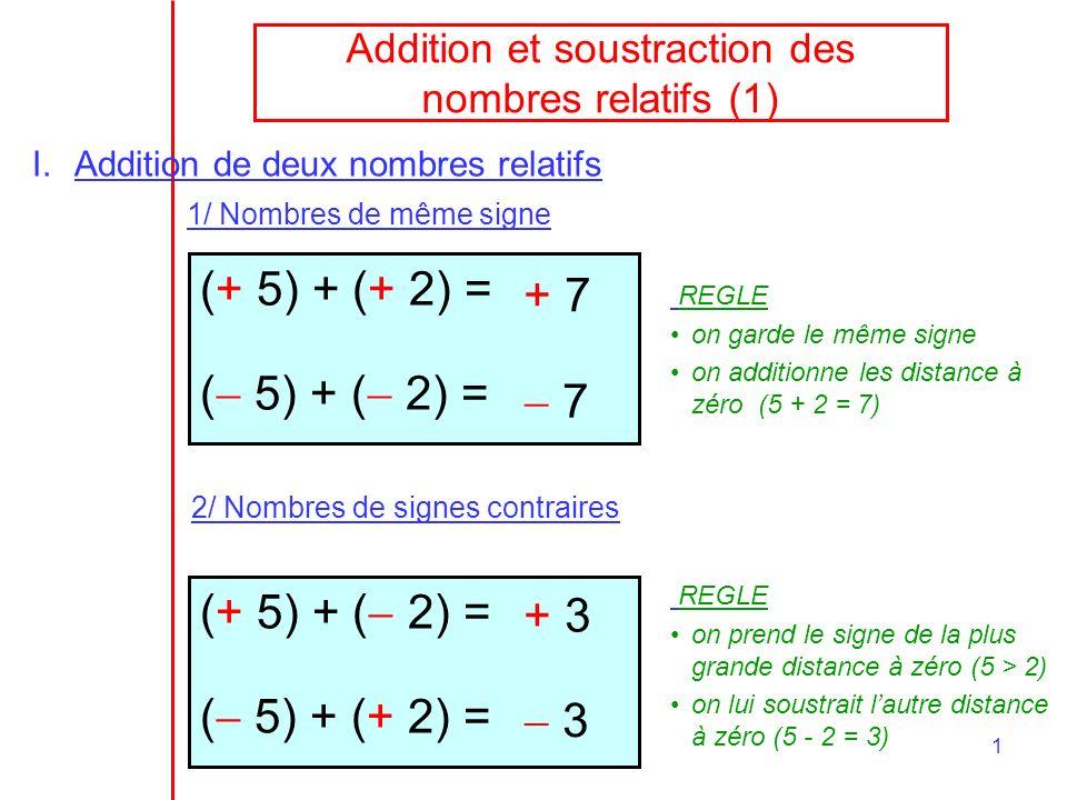 1 Addition et soustraction des nombres relatifs (1) I.Addition de deux nombres relatifs 1/ Nombres de même signe (+ 5) + (+ 2) = ( 5) + ( 2) = + 7 7 R