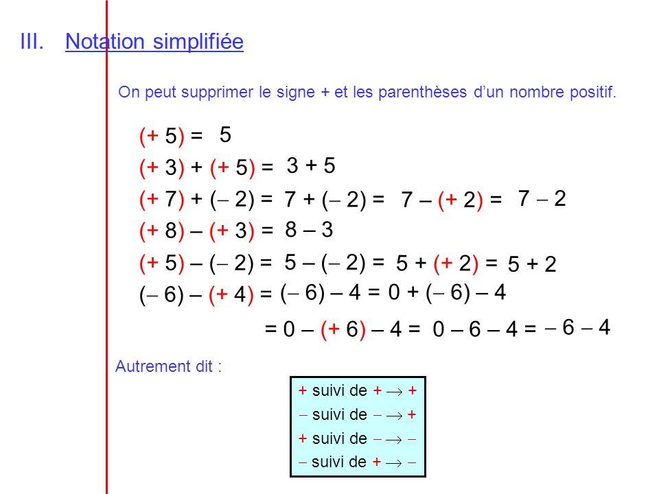 III.Notation simplifiée On peut supprimer le signe + et les parenthèses dun nombre positif. (+ 5) = (+ 3) + (+ 5) = (+ 7) + ( 2) = (+ 8) – (+ 3) = (+