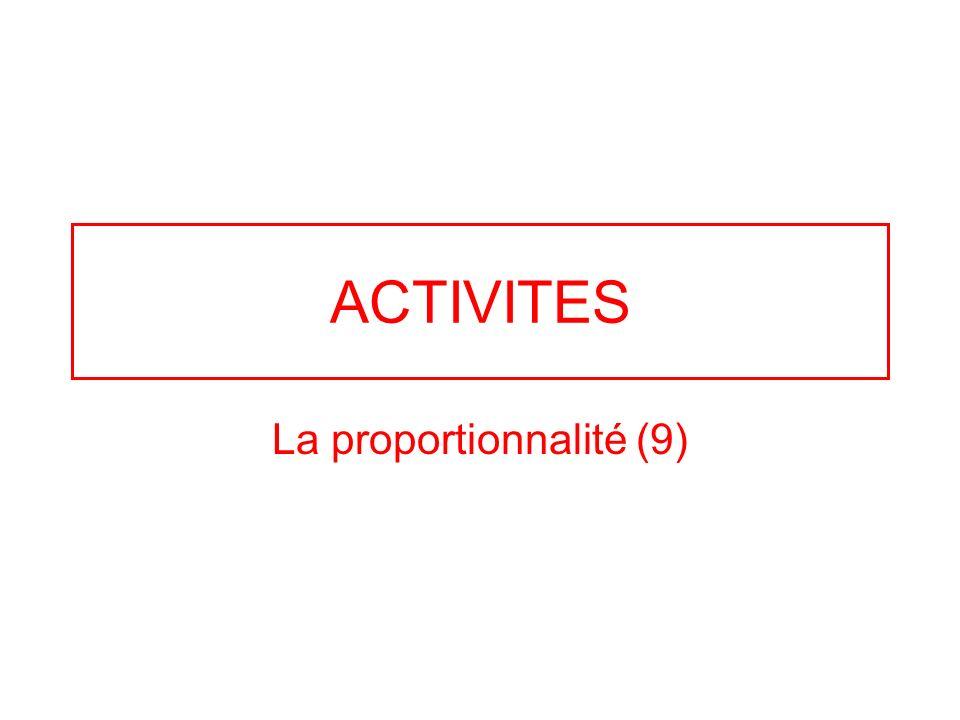ACTIVITES La proportionnalité (9)