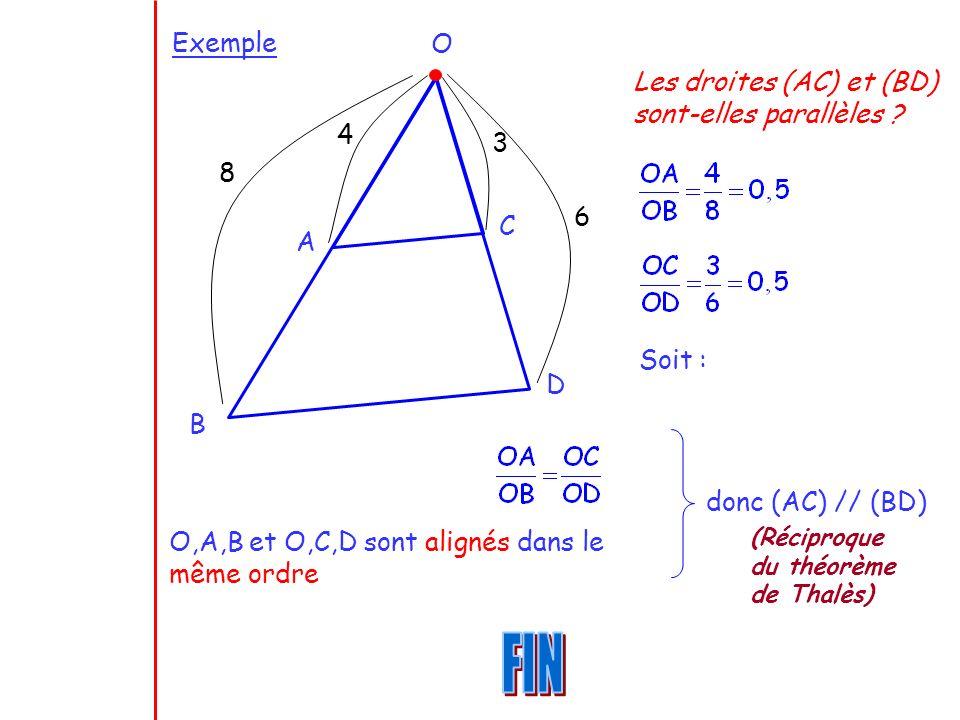 Exemple O B D A C 4 8 3 6 Les droites (AC) et (BD) sont-elles parallèles ? Soit : O,A,B et O,C,D sont alignés dans le même ordre donc (AC) // (BD) (Ré