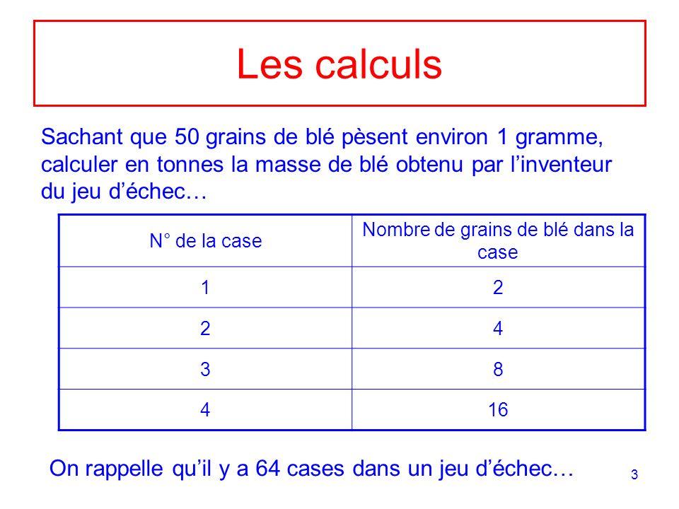 3 Les calculs Sachant que 50 grains de blé pèsent environ 1 gramme, calculer en tonnes la masse de blé obtenu par linventeur du jeu déchec… N° de la c