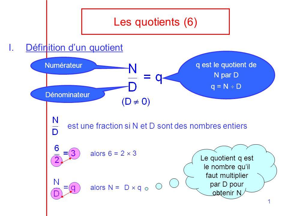 1 Les quotients (6) I.Définition dun quotient Numérateur Dénominateur q est le quotient de N par D q = N D est une fraction si N et D sont des nombres